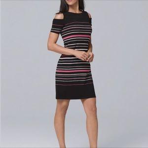 WHBM cold shoulder stripe dress